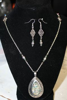 Abalone Shell Pendant Silver Necklace & Earrings
