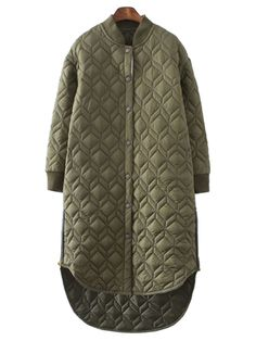 Shop Military Green Quilted Side Zipper Detail Dipped Hem Padded Coat from choies.com .Free shipping Worldwide.$51.99
