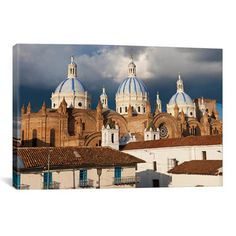 East Urban Home Panoramic 'Immaculate Conception Cathedral, Cuenca, Ecuador' Photographic Print on Canvas Size: