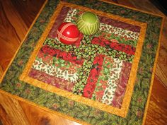 Christmas Table Topper Holly Poinsettias and Pine by TahoeQuilts