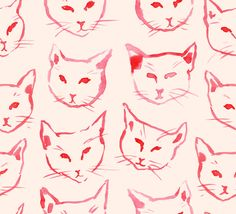 Red Cat Art Print by Leah Reena Goren