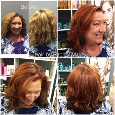 Fall haircolor, warm tones, hand-painted, balayage, medium length hair, layers. Red hair, copper tones.