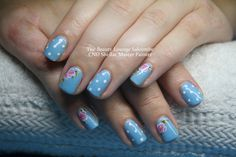 CND Shellac nails in Azure Wish with Polka dot and rose details.  #cndshellac #nails #nailart #salcombe