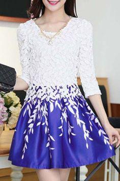 El collar elegante del vestido de la cucharada de 3/4 de la manga del cordón de empalme de la hoja de impresión de las mujeres