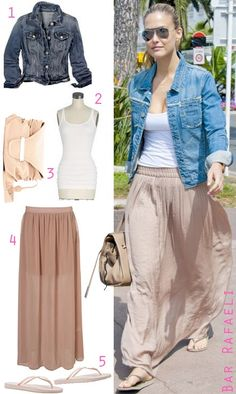 maxi skirt/tank, with jean jacket.