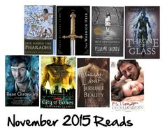 """Books i Read in November 2015"" by roseunspindle ❤ liked on Polyvore featuring art and books"