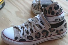 """Converse """"Chuck Taylors""""  Hand painted in Leopard Print on Etsy, $120.00"""