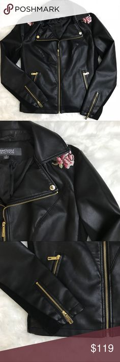 Kenneth Cole Reaction Embroidered Leather Jacket Kenneth Cole Reaction faux leather jacket with gold zippers and floral embroidered patches. Super trendy and practical for the colder months. Everybody needs a leather jacket!   New with tags & in perfect condition!   If you have any questions, comment below and I'll answer as soon as possible! Kenneth Cole Reaction Jackets & Coats
