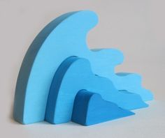 Wooden Wave Stacker Waldorf Toy Ocean Earth Day by Imaginationkids, $14.00