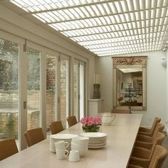 The New England Shutter Co offer custom-made conservatory window shutters to screen conservatory roofs, glass buildings and lantern lights. Conservatory Roof Blinds, Conservatory Dining Room, Conservatory Design, Balcony Window, Balcony Design, Interior Window Shutters, Wooden Shutters, Glass Building, Roof Light