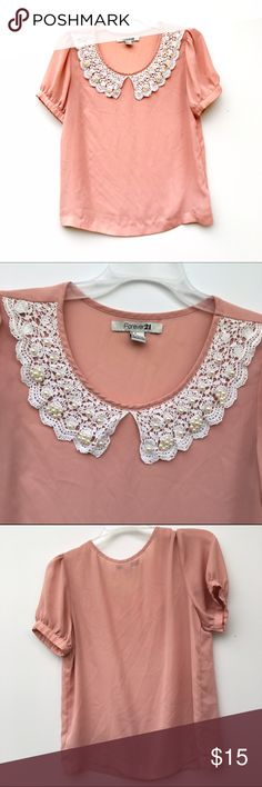 ONE HOUR SALEPink Peter Pan Lace Collar Top Pink, beaded and lace Peter Pan collar top, very lightweight and breezy. Color is truest in second and third images. Forever 21 Tops Tees - Short Sleeve