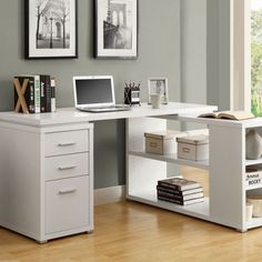 Home Office Desk L Shaped Computer Tables White Artist Crafting Corner Furniture #Monarch #Modern