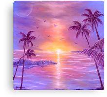 Nostalgia, Canvas Print, tropical painting, coastal scene, palmtrees sunset, sunrise, purple, violet, lavender