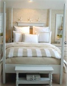 37 Wonderful Beach And Sea Inspired Bedroom Designs : 37 Beautiful Beach And Sea Inspired Bedroom Designs With White Brown Wall Bed Pillow Blanket Wallpaper Nightstand Lamp Table And Carpet Flooring Beach Inspired Bedroom, Beach House Bedroom, Beach Room, Home Bedroom, Beach Condo, Master Bedrooms, Master Bathroom, Bedroom Themes, Bedroom Decor