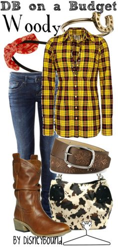 Disney inspired clothing by DisneyBound. Woody. I LOVE plaid, flannel.