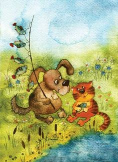 fishing dog & cat - Vika Kirdiy