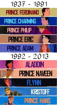 Ferdinand (Snow White), charming (Cinderella), Philip (sleeping beauty), Eric ( the little mermaid), Aladdin, naveen (princess and the frog), Flynn/Eugene (tangled), kristoff & Hans (frozen)