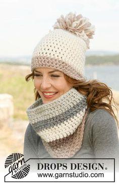 "134-14 Crochet DROPS hat and neck warmer in ""Eskimo""."