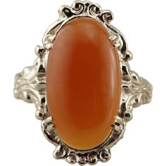 Oval Carnelian Cocktail Ring, Classic Fall Colors -- found at www.rubylane.com #vintagebeginshere