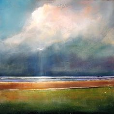 June 12 Angel n Cloud Landscape of Light 10x10 Original Painting, painting by artist Toni Grote