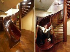 If I were ever wealthy enough I'd totally have this staircase in my home. How can you not be excited for your day if you just slid down an awesome spiral staircase slide! Stair Slide, Stairways, My Dream Home, Dream Homes, Dream Big, In This World, My House, Future House, Story House