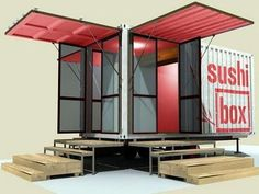 Sushi Box- a Shipping Container Restaurant (a fitting model for a micro house) in Texas... More: (http://relaxshacks.blogspot.com/2011/10/sushi-box-shipping-container-restaurant.html) #Fitnessmodels