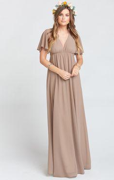 ffbdc57a4dd Faye Flutter Maxi Dress ~ Dune Chiffon