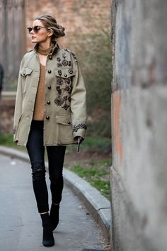 Olivia Palermo wearing Storets Long Sleeve Zipper Elbow Choker Pullover in Beige and Fay Spring 2017 Military Jacket