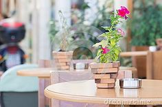 Purple petunia in a small wooden pot on a coffee table