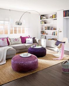 The puffs are such a great option instead of a coffee table. Grey Interior Design, Contemporary Interior, Diy Casa, Design Case, Do It Yourself Home, Living Room Inspiration, Beautiful Interiors, House Colors, Living Room Decor