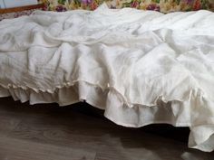 ruffled linen duvet cover with ties softened natural linen white