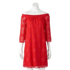 Women's Tiana B Off-the-Shoulder Red Lace Dress, Size: 12
