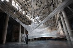 Packing tape art is on thing but spider webs creep me out specifically because wherever you find spider webs you find their eight legged owners. Spider Art, Giant Spider, Spider Webs, Tape Art, Scotch, Tape Installation, Art Installations, Stylo 3d, Instalation Art