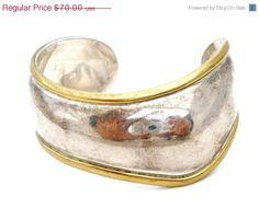 Sale Laton Cuff Bracelet Sterling Silver Brass Wavy Wide Vintage