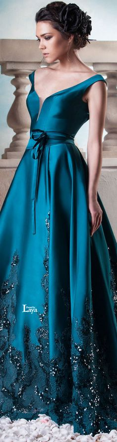 Hanna Touma ~ Couture Summer Teal Satin Flared Skirt Dress 2015