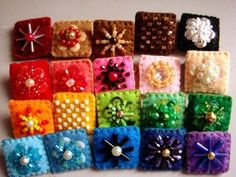 Felt pin brooches These should be fun &simple to make .You'll just need different colors of felt,needle and thread,sequins,seed beads,assorted beads.You can find pin backs at a craft store like Michael's or A.C. Moore. and Voila!