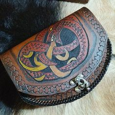 Leather Belt Pouch - Fire Breathing Dragon / Wyrm / Serpent - Celtic - Viking Inspired - Festival Bushcraft Possibilities Bag
