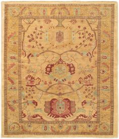 Hand knotted Chobi light gold wool rug
