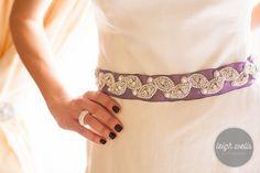Lavender or Pick your color, Custom color, Rhinestone and pearl Sash, satin sash, vintage style, bridal sash, bridal belt, wedding accessories, leaf pattern, Custom orders welcome by Lavender Rose Accessories