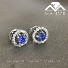 White gold tanzanite and diamond halo earrings. Halo Diamond, Diamond Earrings, Sapphire, Jewelry Making, White Gold, Wedding Rings, Engagement Rings, Jewels, Enagement Rings