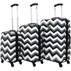 Chariot Chevron 3-Piece Hardside Spinner Luggage Set, White
