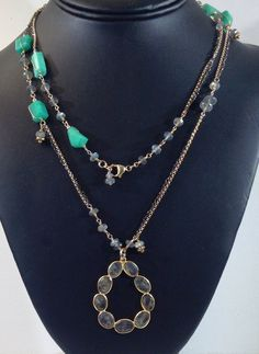 Long Gold Necklace with Chrysoprase and Labradorite on Gold-Filled and Oxidized Chains with a Labradorite Oval Pendant, Bridal Gift, UBN-279 by CJCjeweldesigns on Etsy