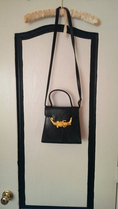 Black faux leather Handbag with Gold Crocodile by ThriftedMind