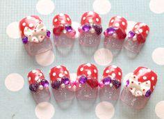 Kawaii nails, nail art, french tips, stripes, 3D nails, bows, hearts, Japanese nail art via Etsy