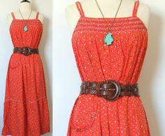 Vintage 70s Red Floral Dress with Smocked Neckline. $36.00, via Etsy.