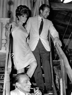 Raquel Welch, Marcello Mastroianni and director Eduardo De Filippo on the set of Shoot Loud, Louder...I Don't Understand, 1966