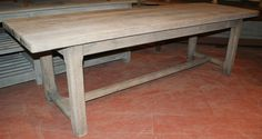 """18th C French bleached oak farmhouse table with a wonderful 2"""" thick top."""
