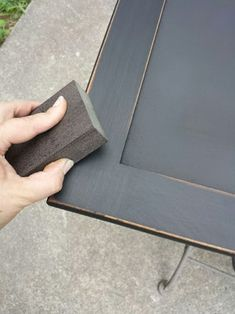 How to Create a Distressed Black Finish (easy) : 7 Steps - Instructables Black Distressed Cabinets, Black Distressed Furniture, Distressed Painting, Black Furniture, Paint Furniture, Furniture Projects, Furniture Makeover, Furniture Refinishing, Chair Makeover