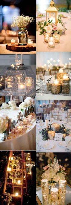 romantic floating candle light wedding decor ideas.