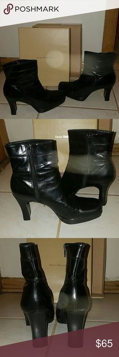 Enzo Angiolini Black Ankle Boot !! Super hot ankle boots that can go with almost anything! 3 inch heel to glam them up a bit ! Cute detail near top of boots , with zippers on the side to easily take on or off! Perfect Condition!! Recieved as a gift if they fit me I'd probably keep them for myself !! All Leather. Sturdy and should last quite a while! Brand New @ nine west !! XO Enzo Angiolini Shoes Ankle Boots & Booties